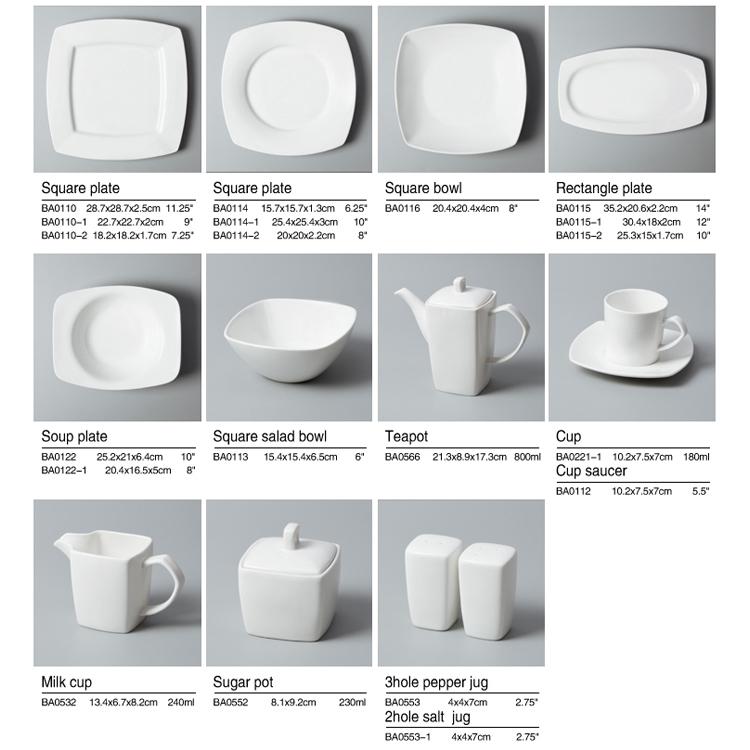 Hotel Ware Plates Crockery Set Tablewar, Restaurant Tableware White Dinner Set Porcelain, Ceramic Dinnerware Set