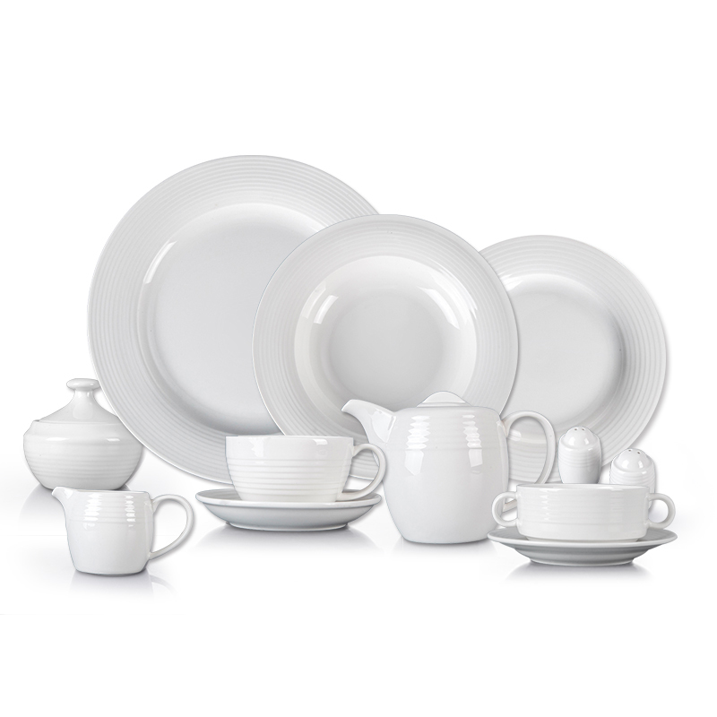 Crokery Hotelware In Dinnerware Sets, Wedding Event European Tableware, White Dinner Set Porcelain^