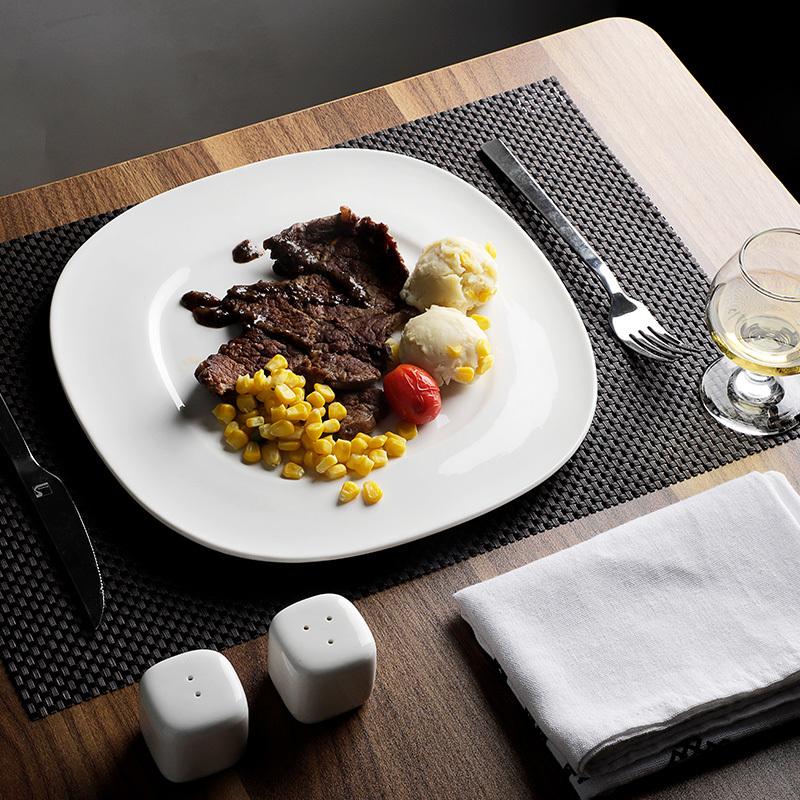 Hotel Porcelain Square Dinner Set Catering White Restaurant Tableware