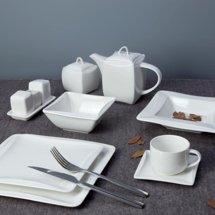 hot selling dinnerware plain white porcleian tableware hotel restaurant dinning table set