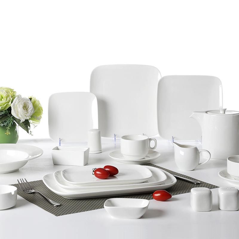 Hotel Restaurant Modern Square Dinnerware Logo Printing Acceptable, Cheap Plain Tableware Ceramic White, Square Plate Dish Sets/