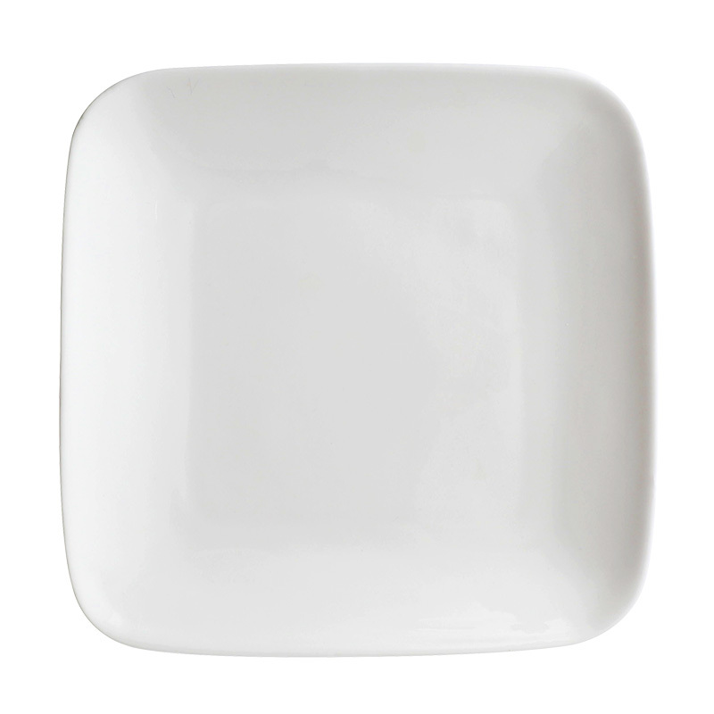 Hotel Restaurant Modern Square Dinnerware Logo Printing Acceptable, Cheap Plain Tableware Ceramic White, Square Plate Dish Sets/