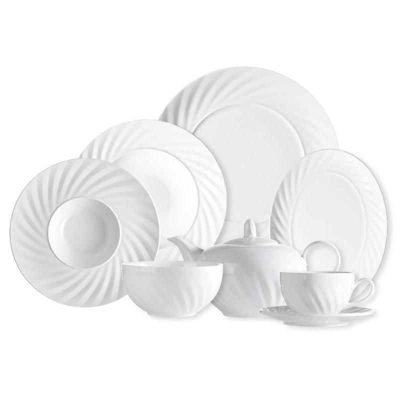 28 Ceramics High Quality Hotel Restaurant Porcelain Dinner Set, White Dishes Plates Ceramic Set