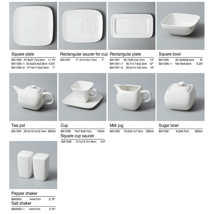 High Class Square Plates Dishes Set Dinnerware For Star Hotel And Restaurant Use