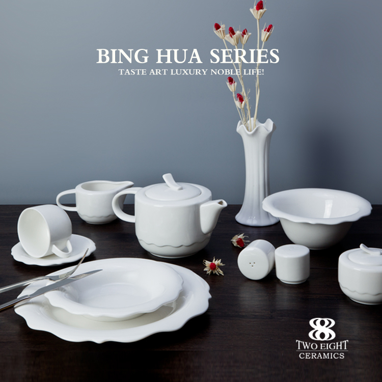 wholesale fine quality porcelain , crockery tableware bone china dinner set for hotel in stock