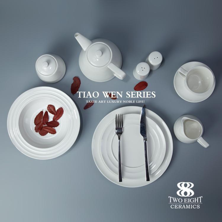 New porcelain dinnerware set for hotel and restaurant