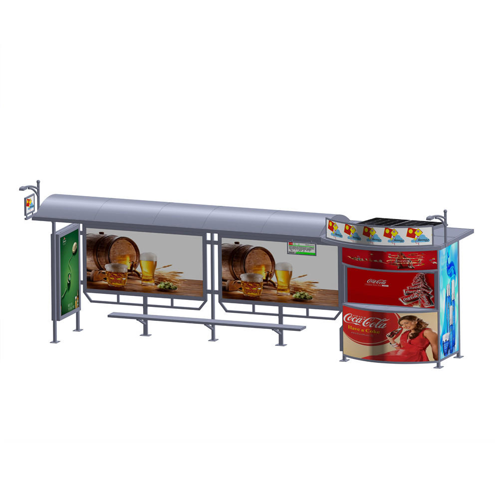 Best price solar system bus stop shelter outdoor bus shelter