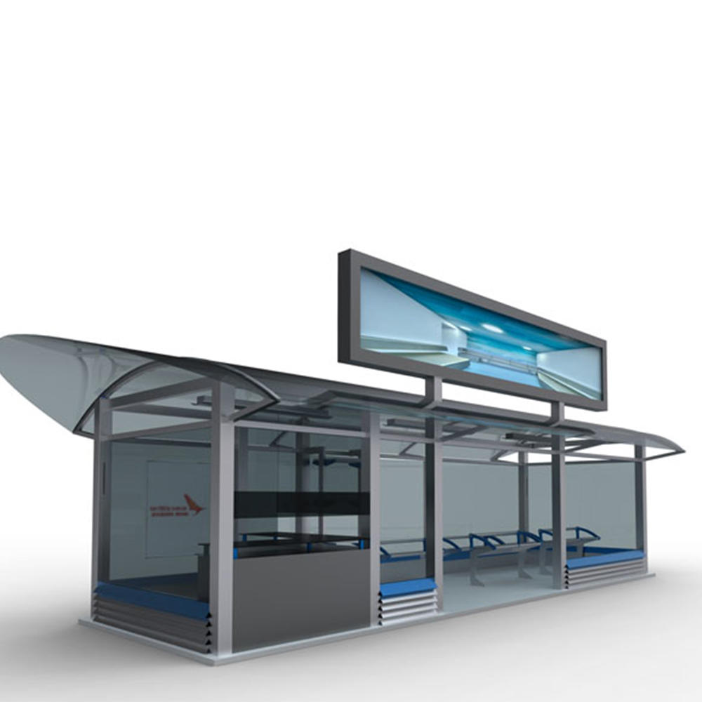 Popular design metal bus stop shelter with waiting bench