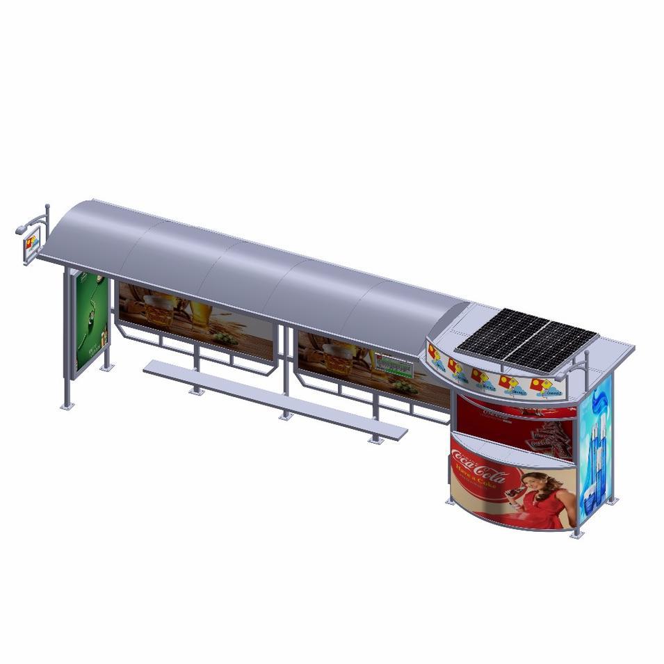 Outdoor city street furniture solar vending kiosk bus stop shelter with advertising led light box