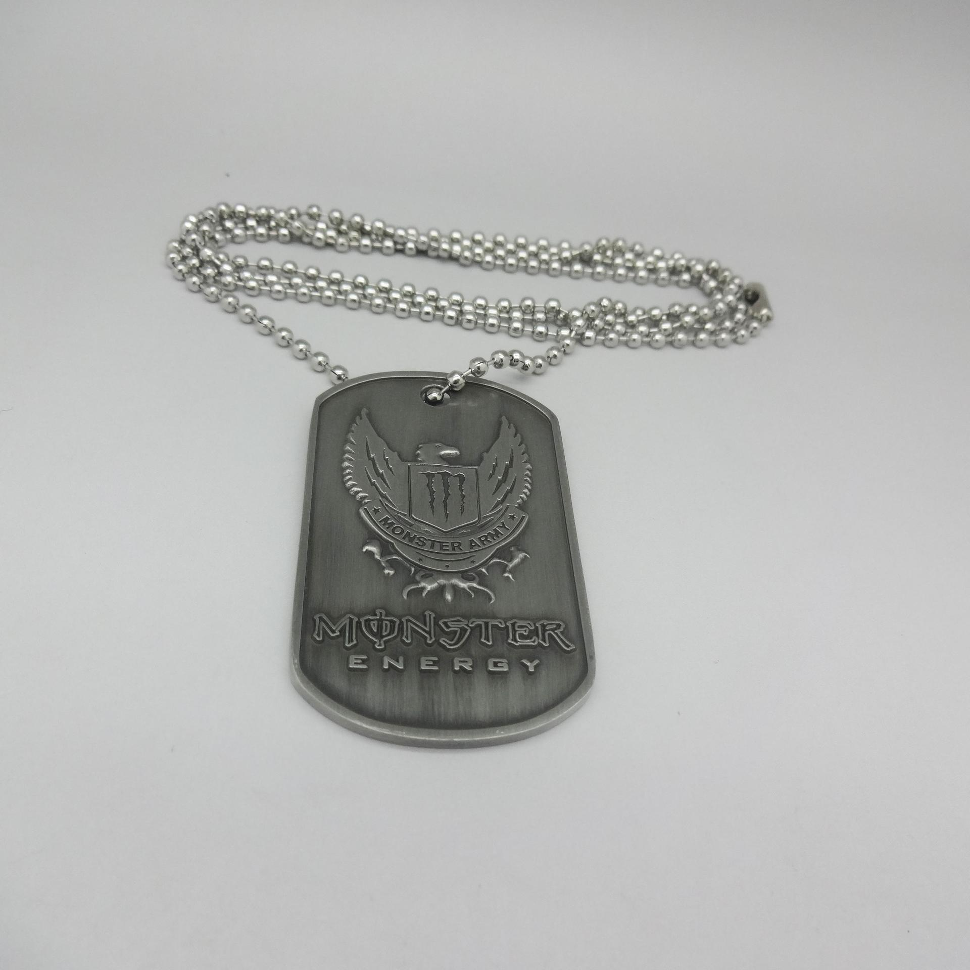 Cheap wholesale 3d customized black military dog necklace tag