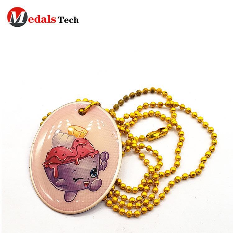 Custom cute aluminum epoxy sticker dog tag with gold ballchain