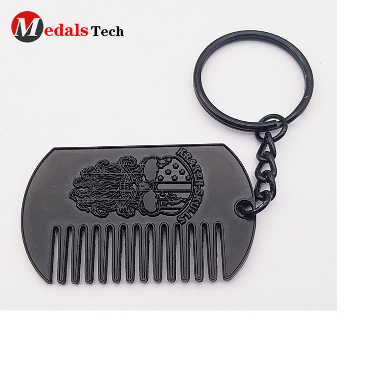 Custom cheap engraved logo metal gift comb souvenir dog tag