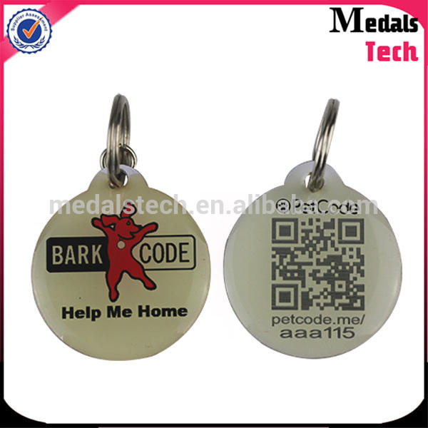 From China medal supplier 2016 hot sell metal epoxy QR code dog tag pet tags