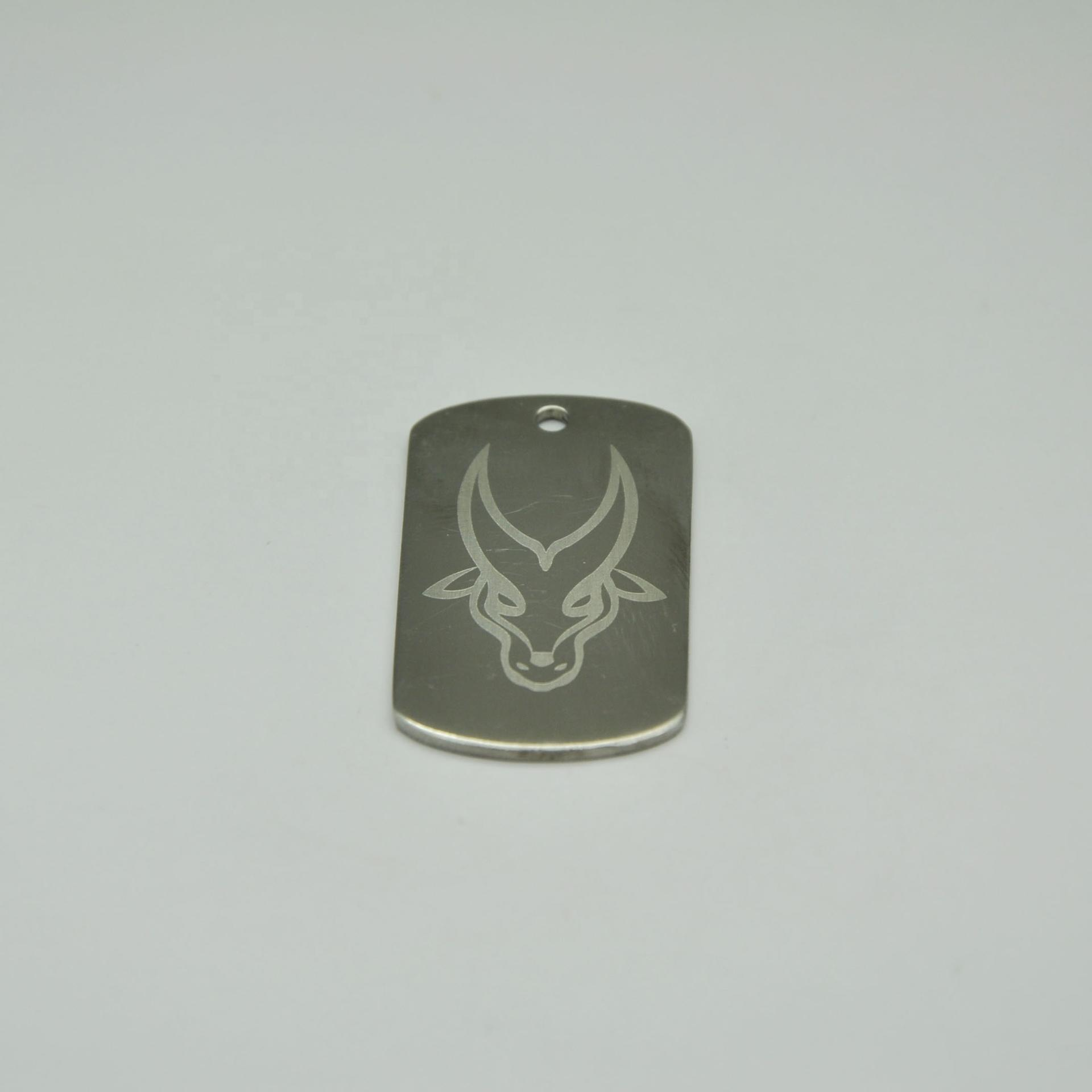 Custom laser logo stainless steel blank army metal dog id tag with ball chain