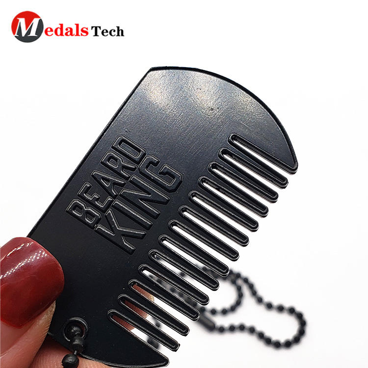 Factory price custom logo metal charm gift dog tag with comb