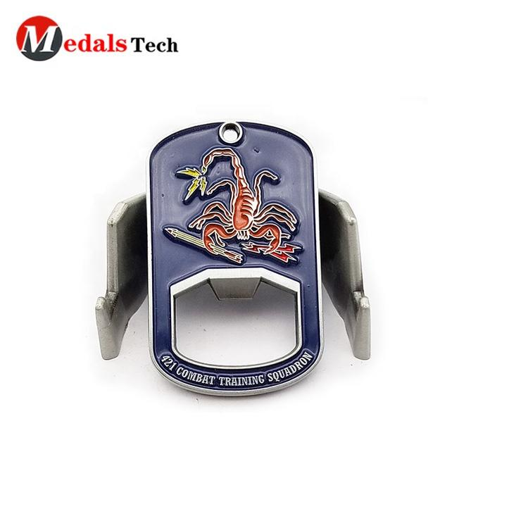 Stainless steel customized military dog tag bottle opener with laser logo