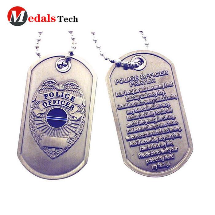 Promotion cheap 3d embossed logo antique silver engraved dog tags with chain
