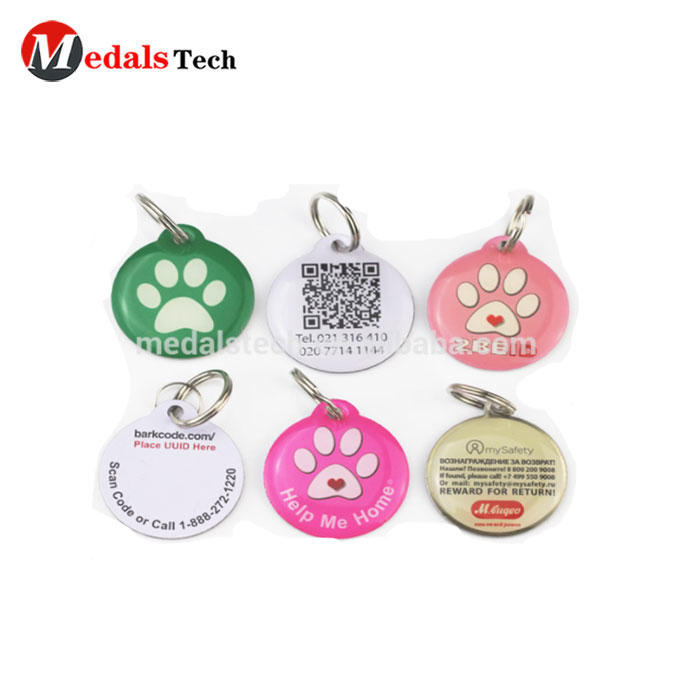 Shenzhen medal supplier custom 13.56MHz NFC pet id aluminum dog tag with domed resin