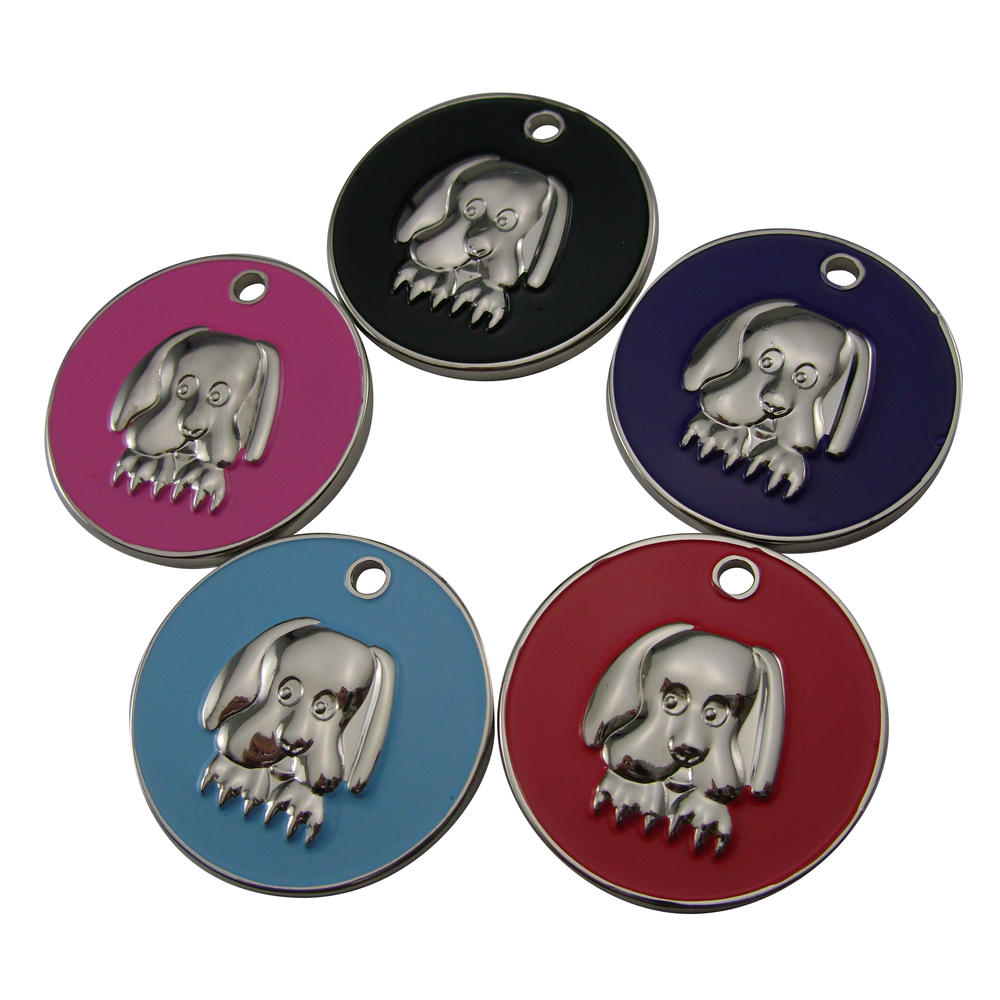 Round shape metal customized dog id collar tag