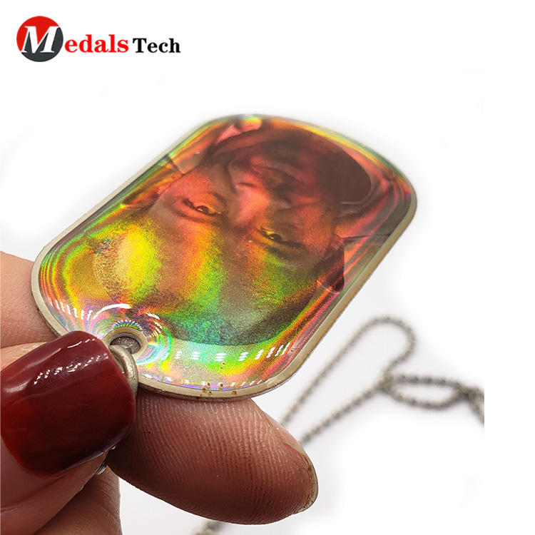 Cheap customized design printed epoxy funny dog tag necklace