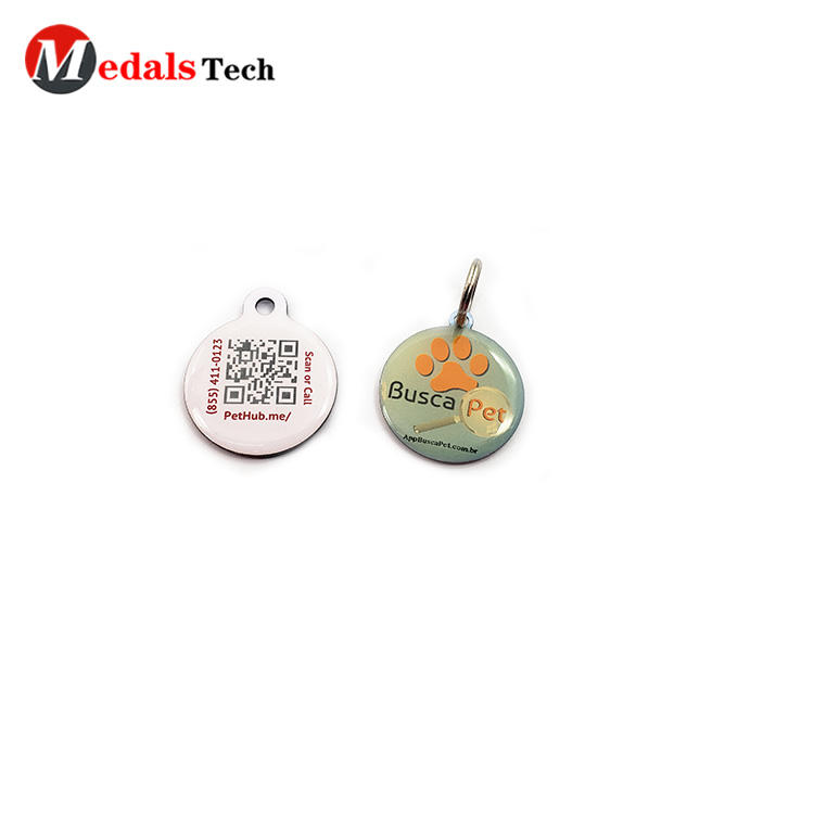 Custom cheap code printing metal double sides epoxypets tag