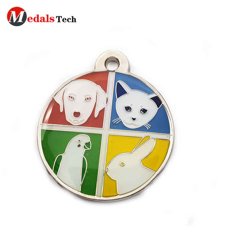 Custom animal silver plating engraving logo dog tag with soft enamel