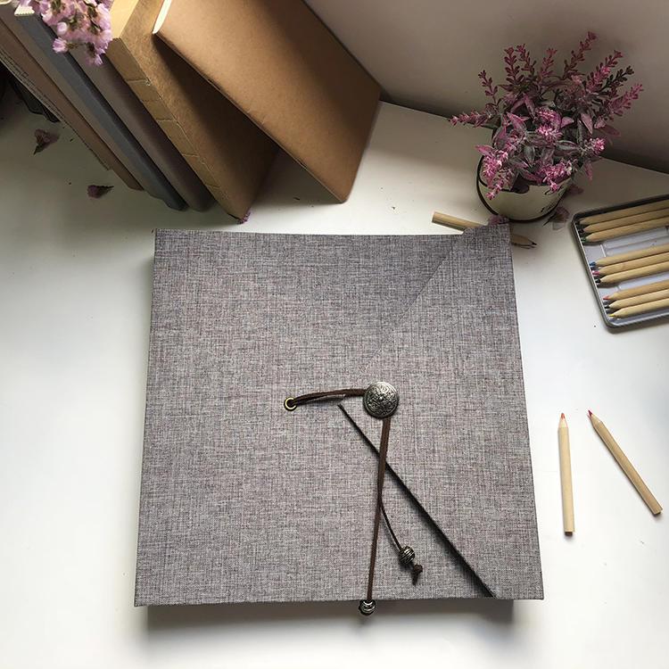 Vintage Linen Cover DIY Handmade Autograph Album Self-Adhesive Photo Album With 20 Sheets