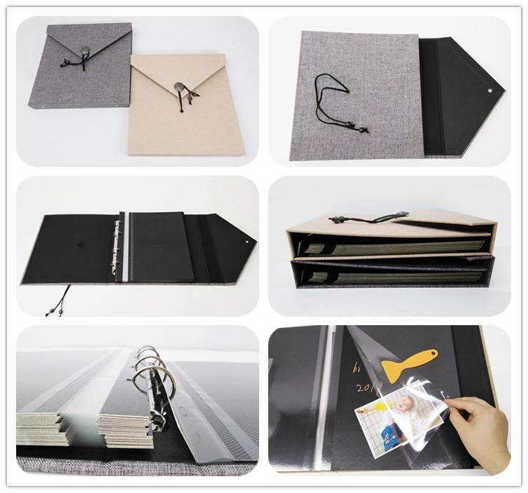 product-Dezheng-Vintage Linen Cover DIY Handmade Autograph Album Self-Adhesive Photo Album With 20 S-1