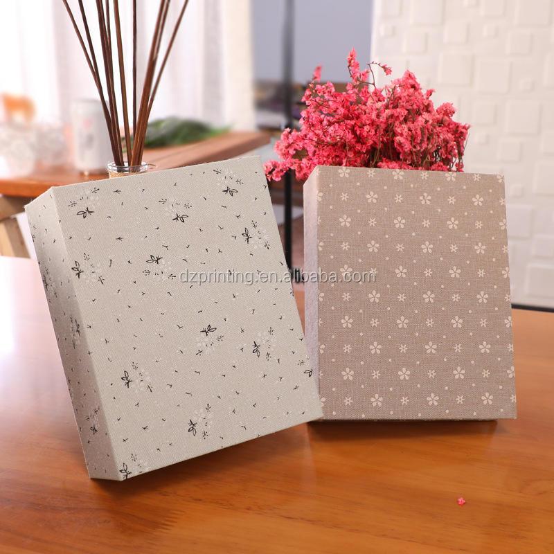 Elegant Cloth Material Hard Cover Plastic Sleeves Photo Album With Memo Space