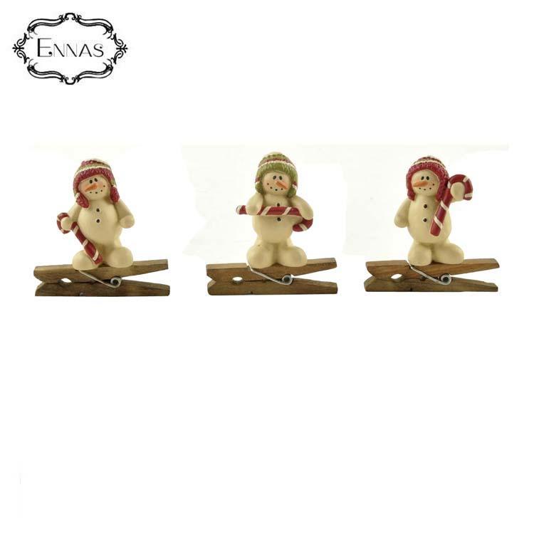 Newest 3pcs/set snowmen clip with candy canes christmas season decoration kids stuff