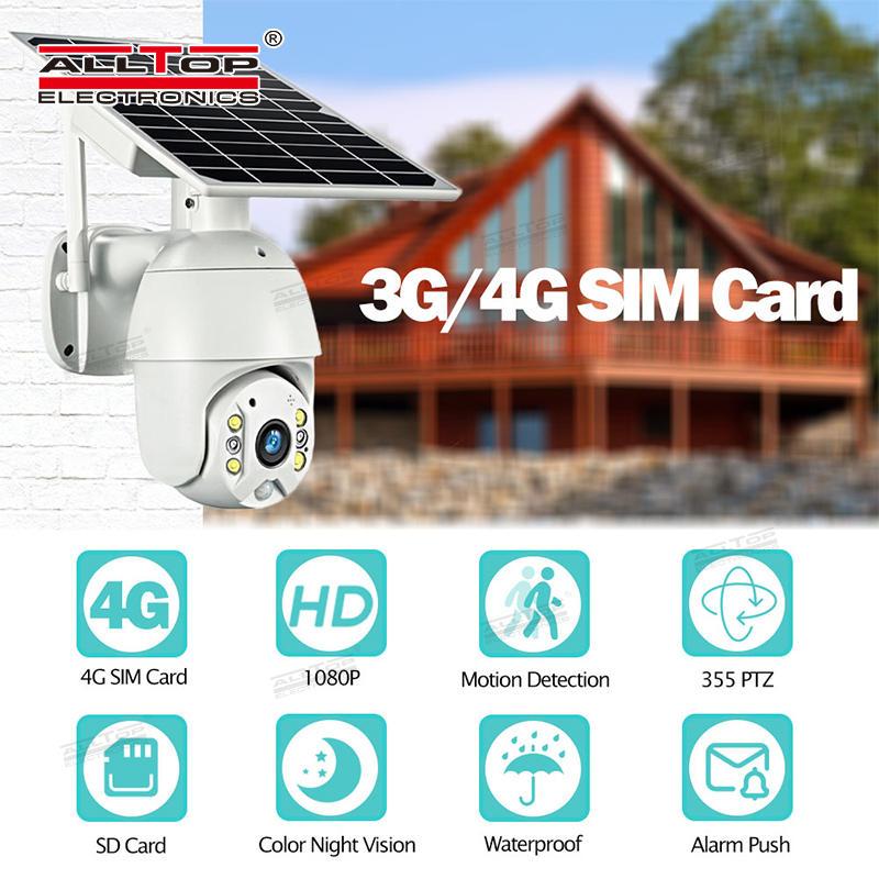 ALLTOP Solar cam 2MP wifi PIR with battery Waterproof two way audio solar 4G cctv camera