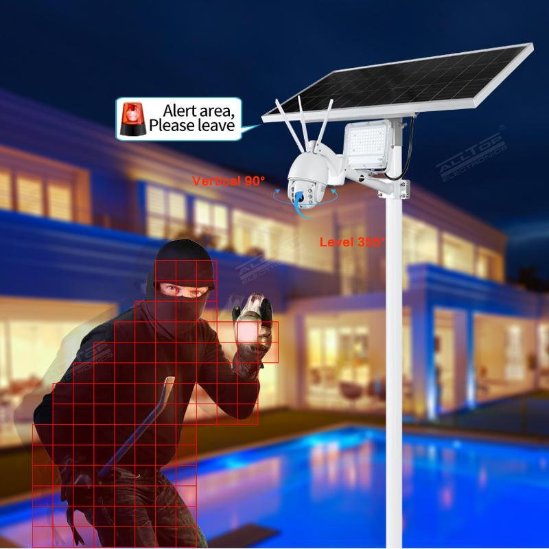 ALLTOP Aluminium Alloy 80w outdoor ip65 intelligent CCTV camera security solar led flood light