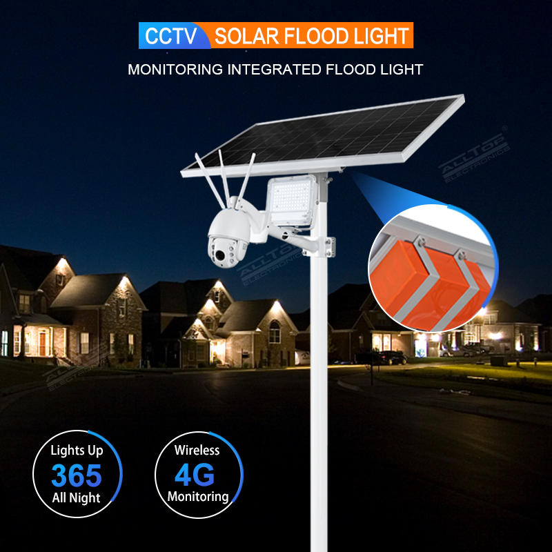 ALLTOP Wireless remote control outdoor solar power supply led flood light lamp with cctv ip camera