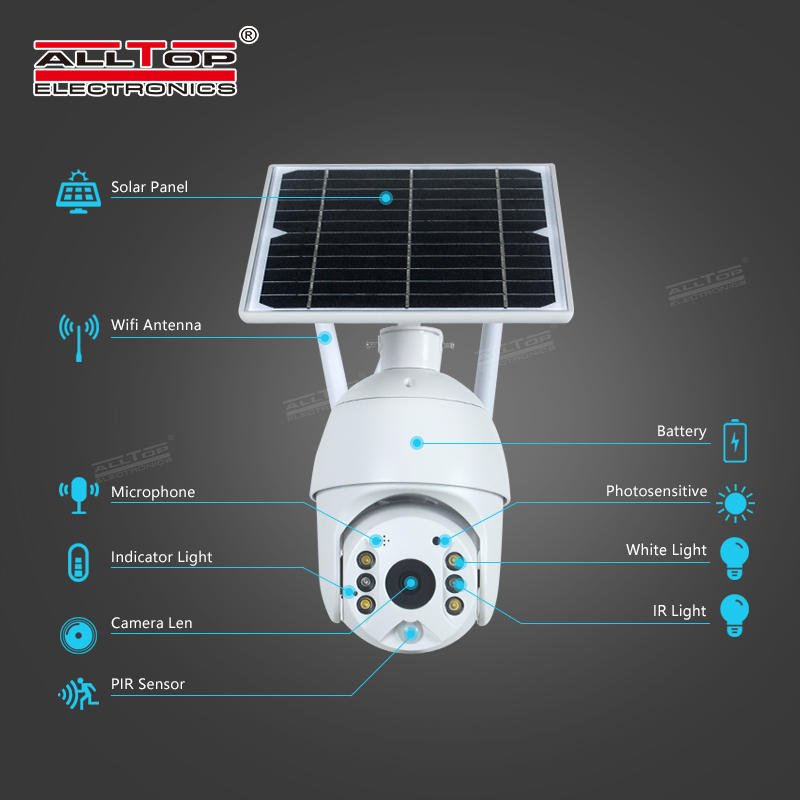 ALLTOP Outdoor 4g solar panel cctv camera 4g wifi home speaker pir solar camera
