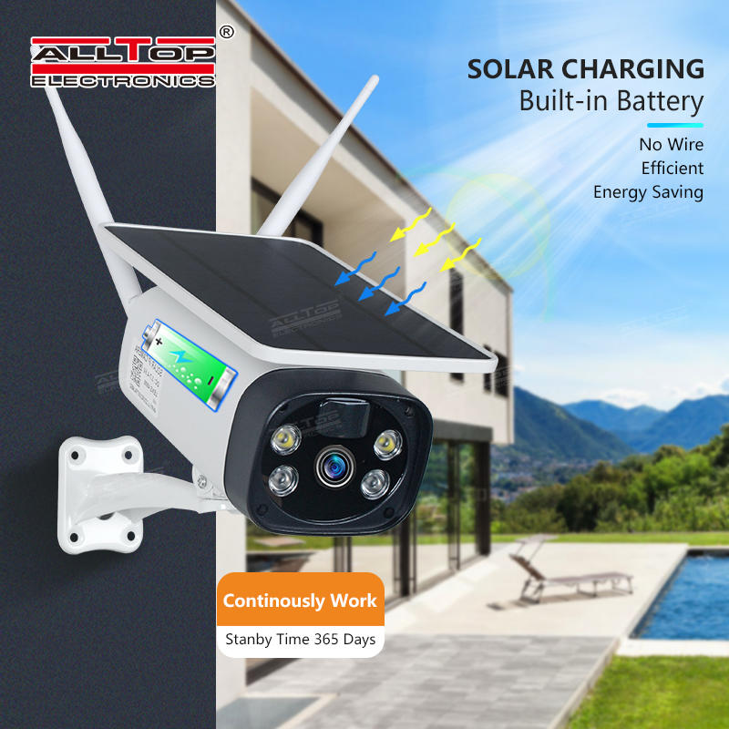 ALLTOP Hot Sale Low Consumption Security HD Surveillance CCTV Battery Powered Wireless 4G Solar Power IP Camera
