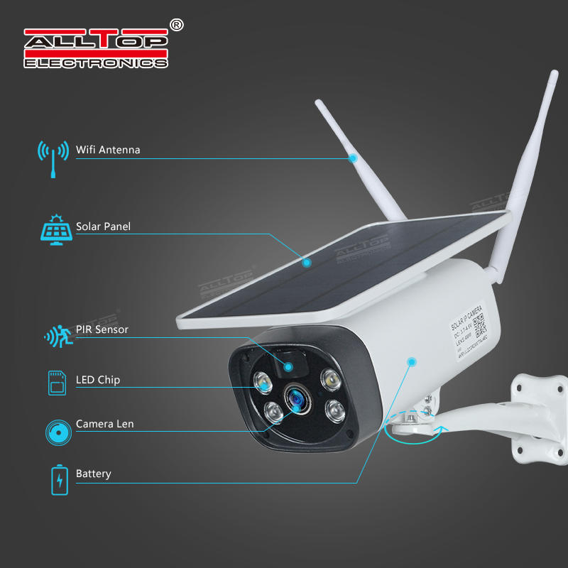 ALLTOP Outdoor 1080P Waterproof Wireless Security Surveillance Solar Panel Battery Powered WiFi IP Solar CCTV Camera