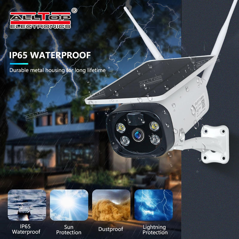 ALLTOP Hot Sale Low Consumption Security HD Surveillance CCTV Battery Powered Wireless 4G Solar Power IP Camera