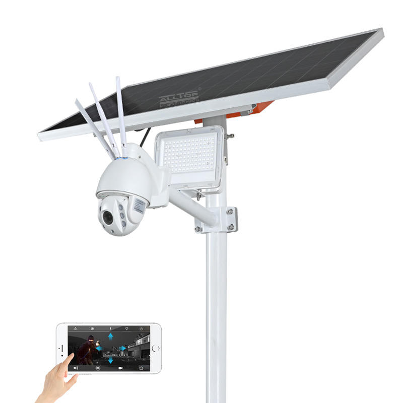 ALLTOP Modern design aluminium ip65 waterproof 80w solar flood light with 4g wifi cctv camera