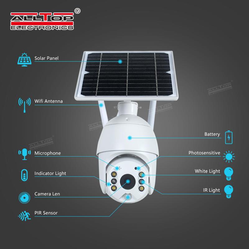 ALLTOP 4g wifi TF card ip camera outdoor 1080P H.265X 1920x1080 Resolution 5x ptz zoom camera solar energy camera