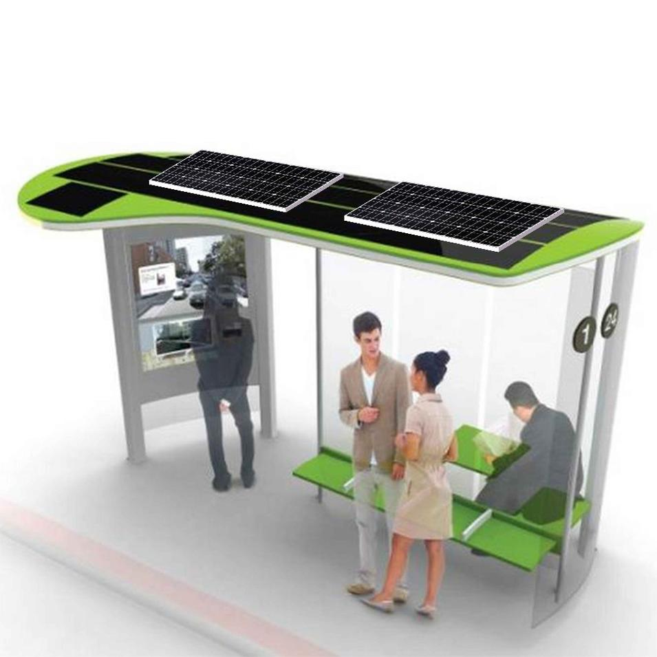 Custom design energy saving street solar bus stop manufacturer