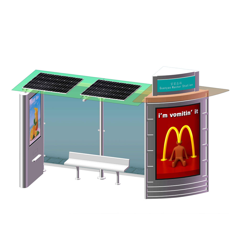 Outdoor Furniture Bus Stop Shelter Solar Powered Bus Station