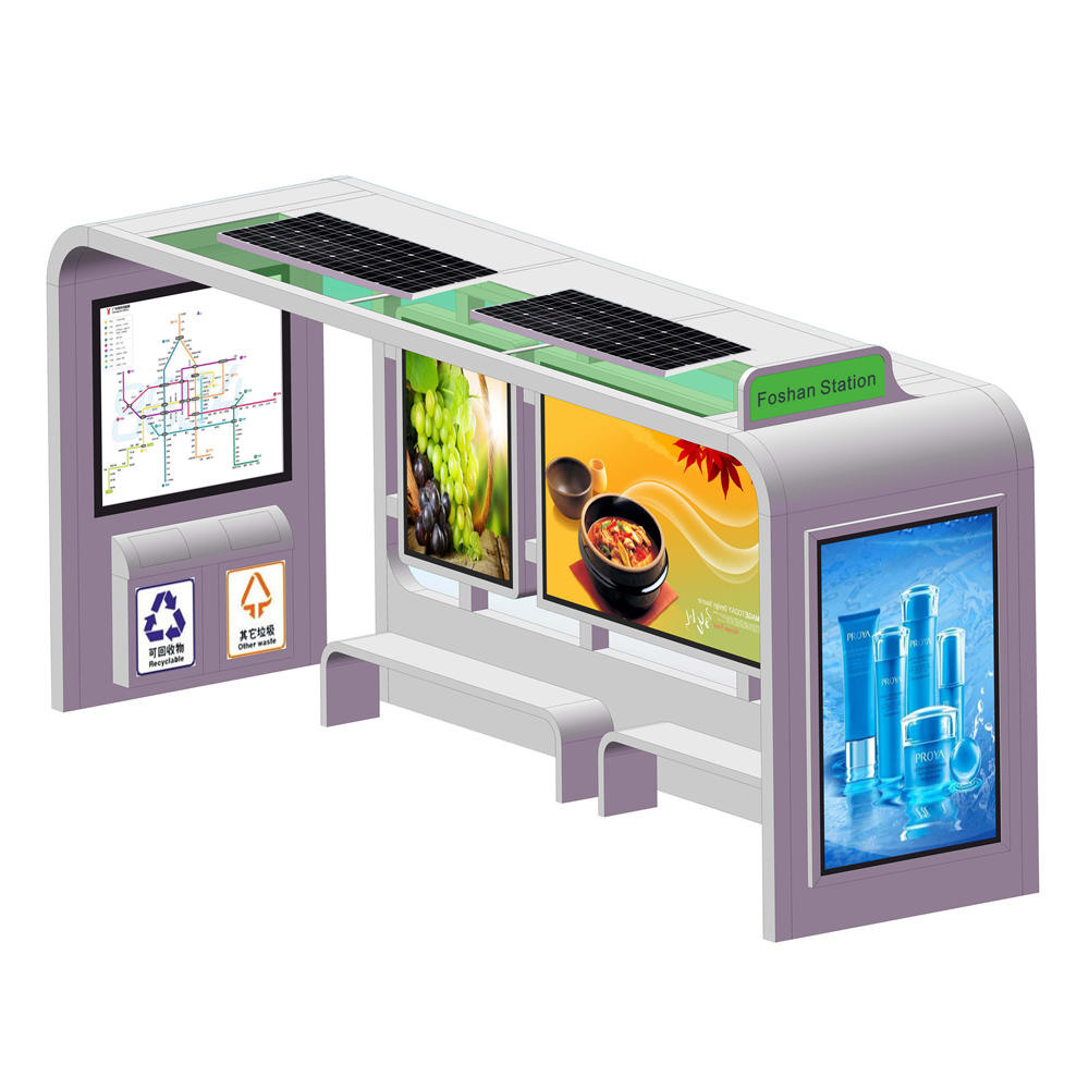 Outdoor bus shelter solar panel bus station with light box
