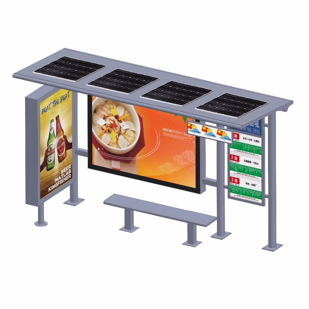 Outdoor Street Advertising Metal Solar LED Display Bus Stop Shelter