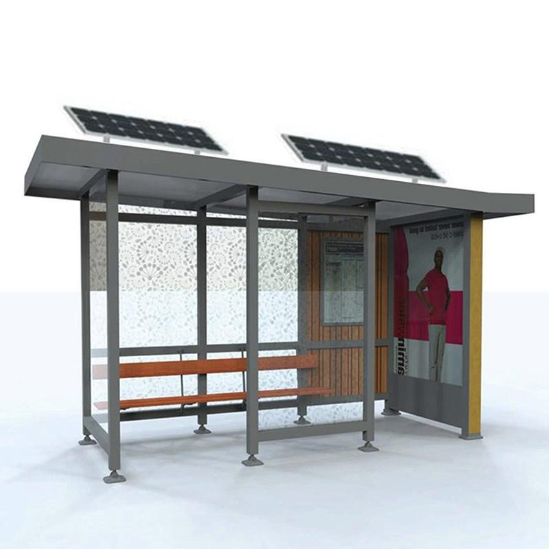 City public modern Stainless steel structure bus stop shelter design