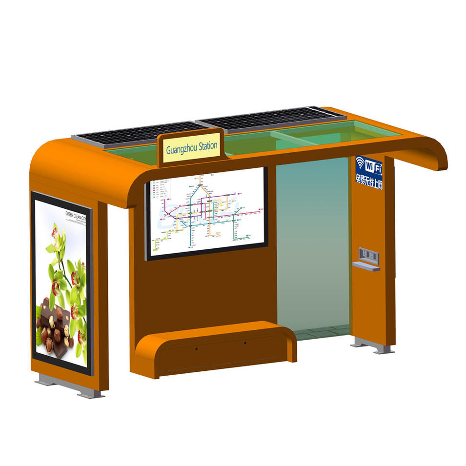 Outdoor advertising metal solar led display bus stop shelter