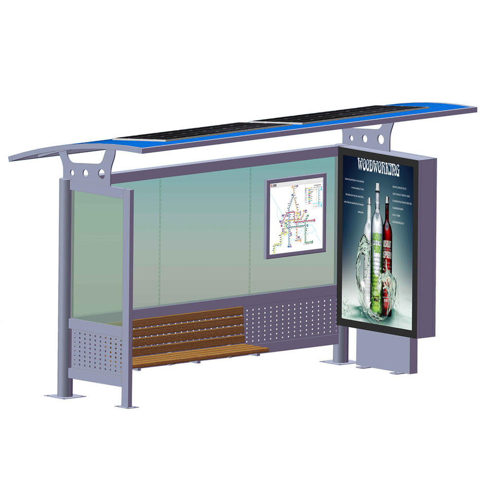 Outdoor Street Furniture Solar Bus Stop with Advertising Lightbox