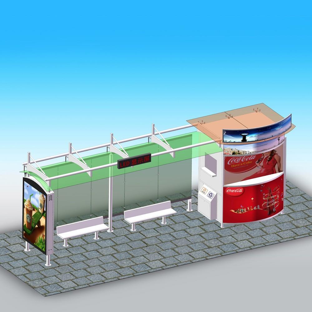 New design solar power bus stop shelter for city street furniture bus station
