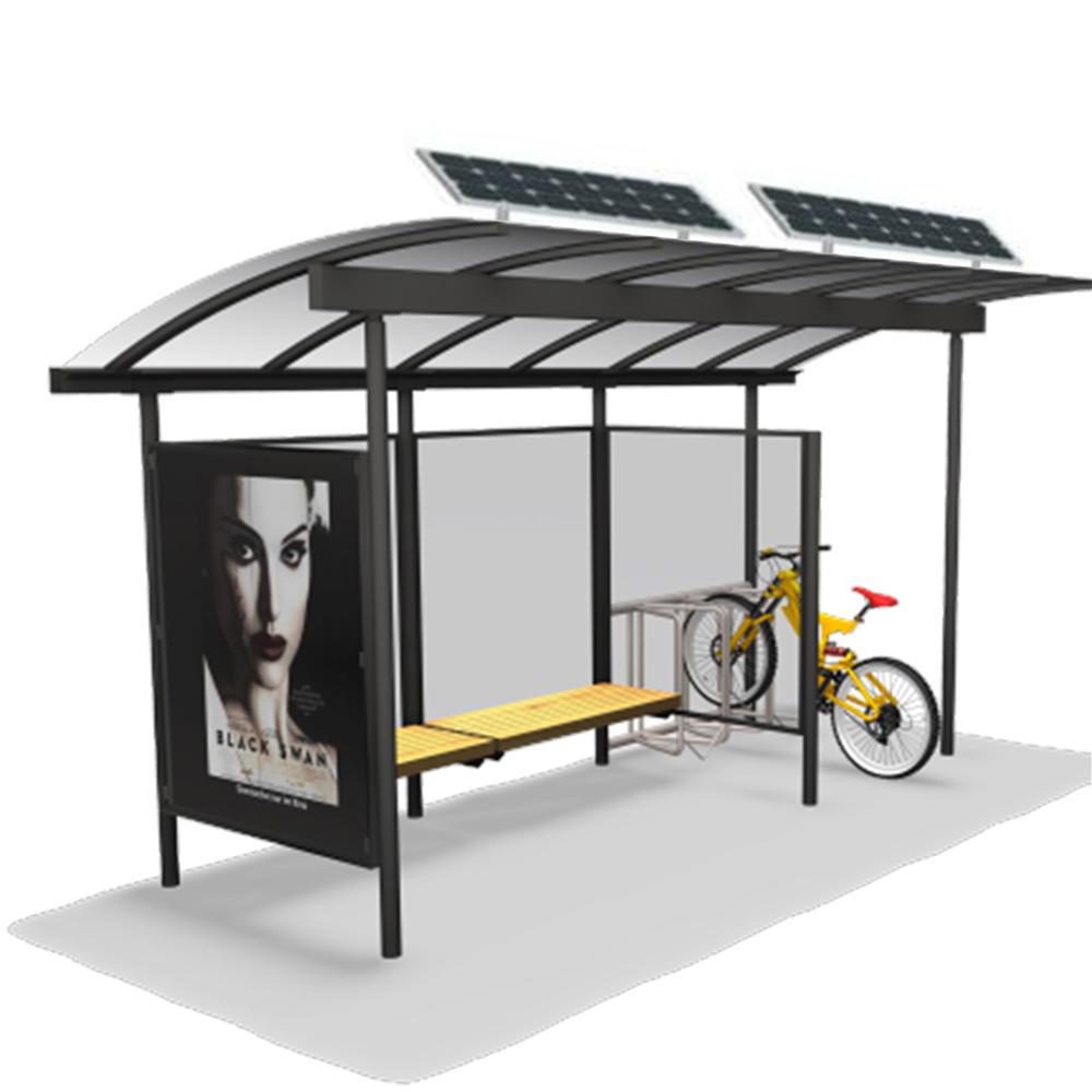 Metal Material Modern Bus Stop Solar Bus Stop