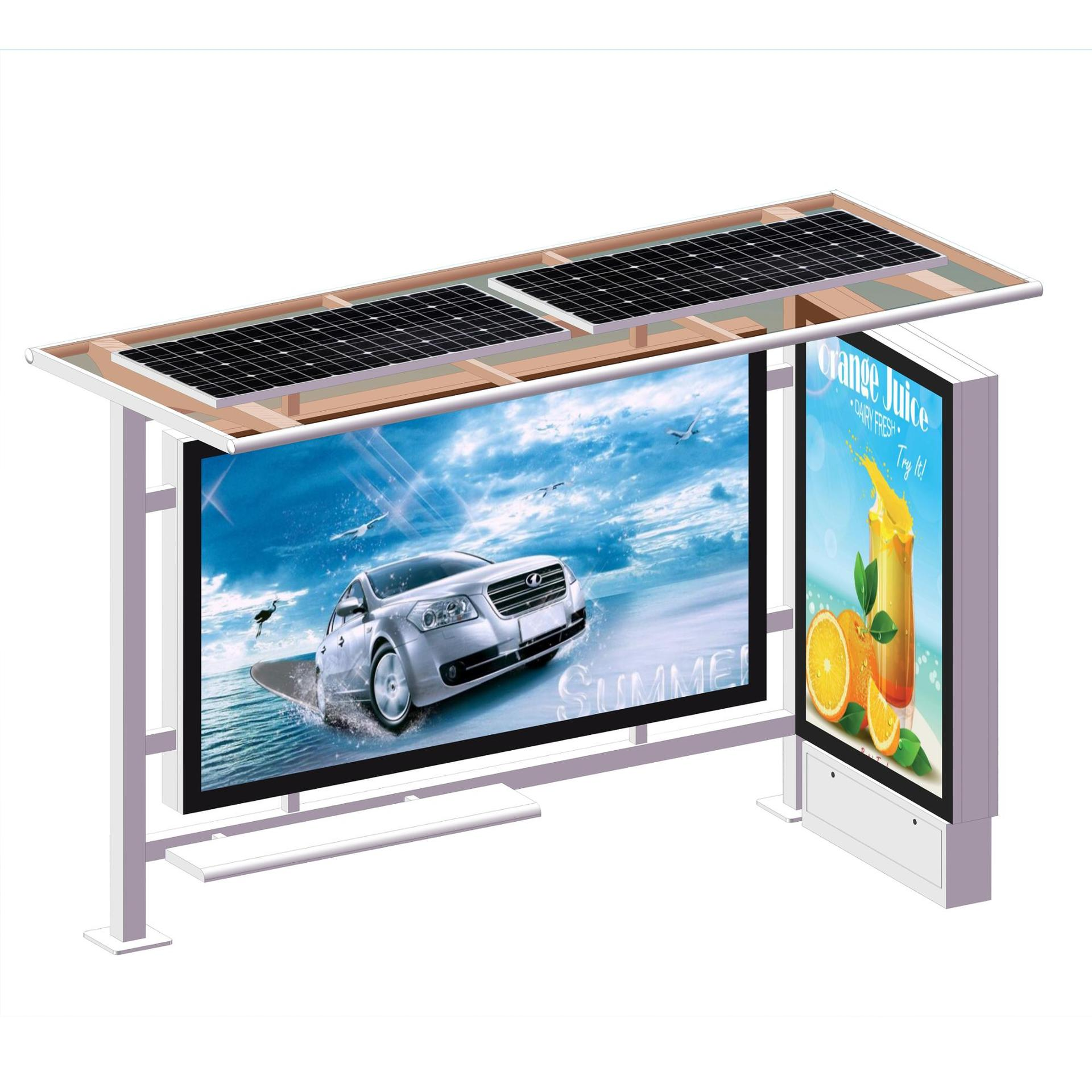 Smart Project Solar LCD Light Box Bus Stop Shelter