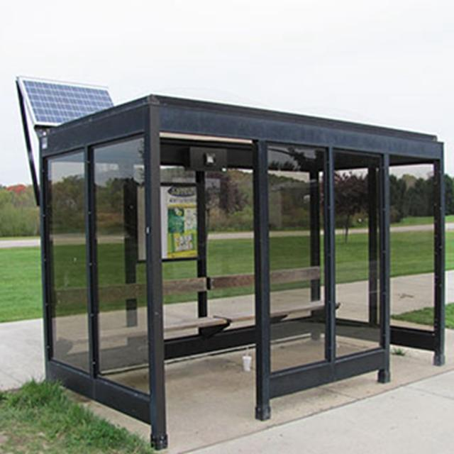 High quality outdoor solar energy bus stop smart city bus shelter